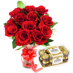 Beautifully Arranged Red Rose Bouquet and Ferrero Rocher Chocolate