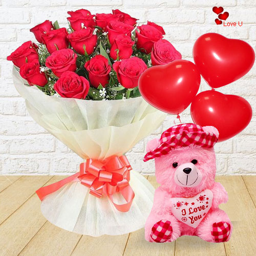 Cuddly Teddy with Red Rose Bouquet and Balloons