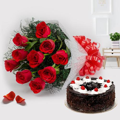 Online Deliver Red Roses with Black Forest Cake