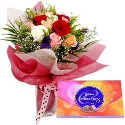 Send Mixed Roses and Cadbury Celebration Chocolate Online