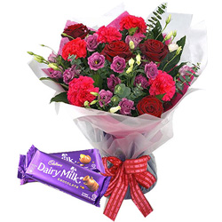 Deliver Combo of Cadbury Celebration and Mixed Flower Bouquet Online