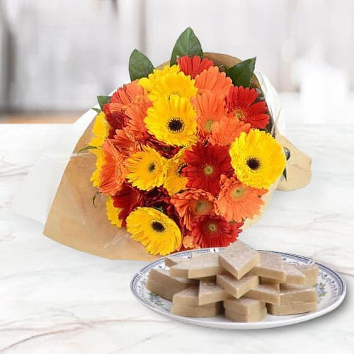 Send Combo of Mixed Gerberas Arrangement and Kaju Katli Online