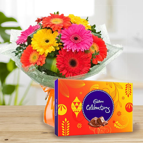 Mouth-Watering Cadbury Celebration with Blushing Mixed Gerbera Bouquet