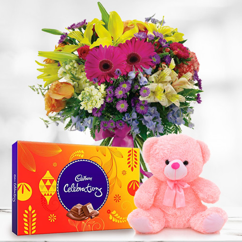 Birthday Trio Pack of Cadbury Celebration, Mixed Flower in a Vase and Small Teddy