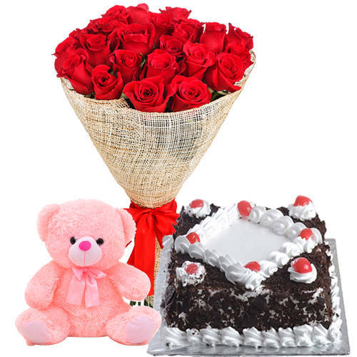 Book Red Roses Bouquet with Black Forest Cake N Teddy Online
