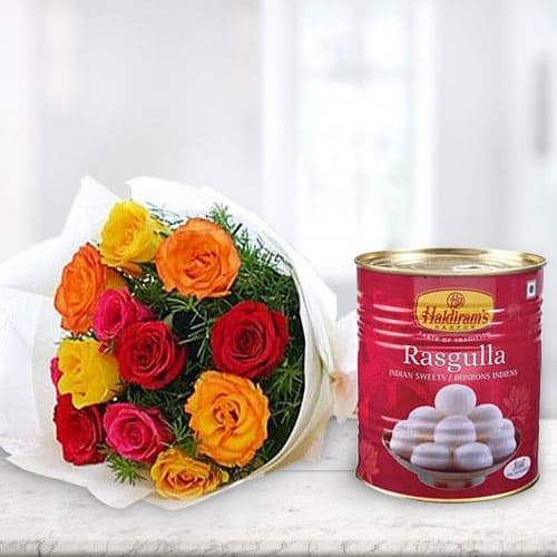 Deliver Online Combo of Mixed Roses with Haldiram Rasgulla