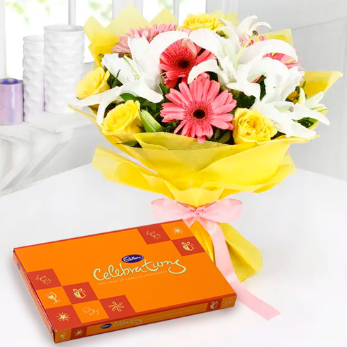 Order Online Cadbury Celebration Chocolate with Mixed Flower Bouquet