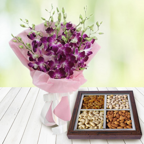 Anniversary Style Orchids Bouquet with Healthy Dry Fruits