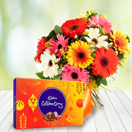 Deliver Gift of Cadbury Celebration and Mixed Gerbera Bouquet Online