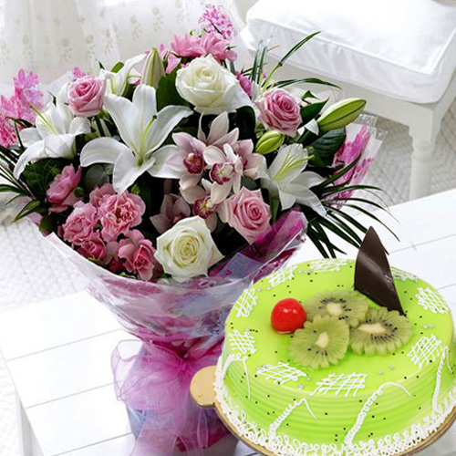 Blooming Mixed Flowers Bouquet with Tasty Kiwi Cake