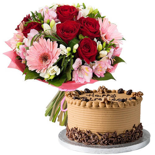 Order Combo of Mixed Flowers Bouquet n Coffee Cake Online