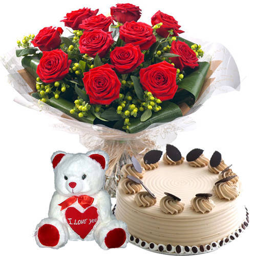 Book Red Roses Bouquet with Teddy N Coffee Cake Online