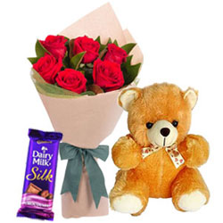 Eye-Catching Red Roses Bouquet with Teddy N Cadbury Silk