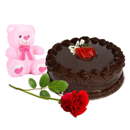 Gift Online Red Rose with Teddy N Chocolate Cake