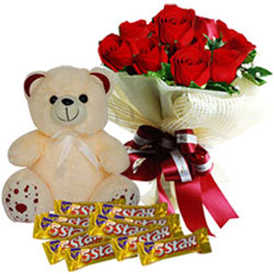 Impressive Bouquet of Red Roses with Cadbury 5 Star N Teddy