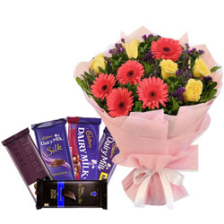 Finest Assorted Cadbury Chocolates with Mixed Flowers Bouquet