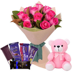 Hand-Arranged Pink Roses Bouquet with Teddy N Assorted Cadbury Chocolates