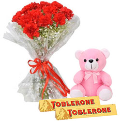 Precious Love Red Carnation Bouquet with Teddy N Toblerone Chocolate
