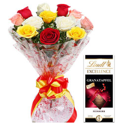Hand-Gathered Mixed Roses with Lindt Excellence Bar