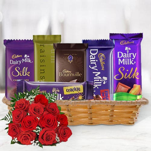 Basket of Cadbury Chocolates with Red Roses