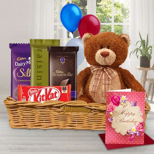 Basket of Birthday Gifts N Chocolates