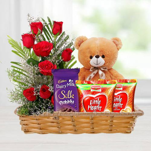 Basket of Love Gifts N Red Roses