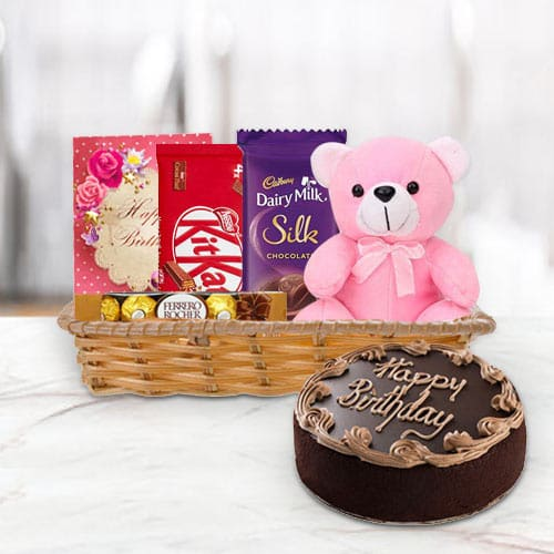 Basket of Birthday Gifts N Chocolate Cake