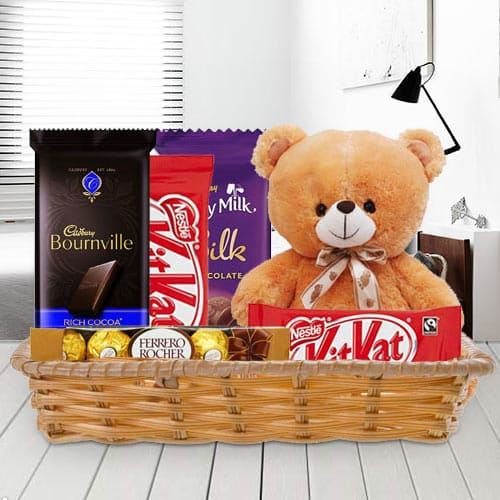 Basket of Delightful Chocolates with Teddy