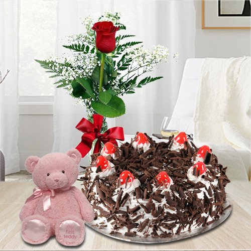 Send Online Black Forest Cake with Red Rose N Small Teddy