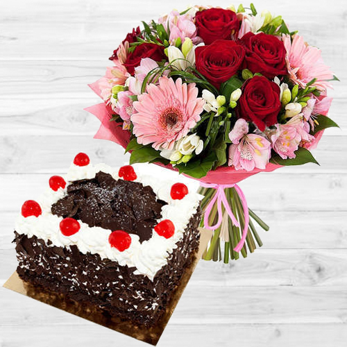 Vibrant Multi-Colored Flowers Bouquet with Black Forest Cake