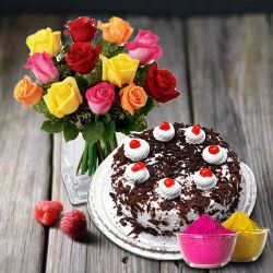 Exclusive multicolor Roses with yummy Black Forest Cake from 5 Star or TAJ