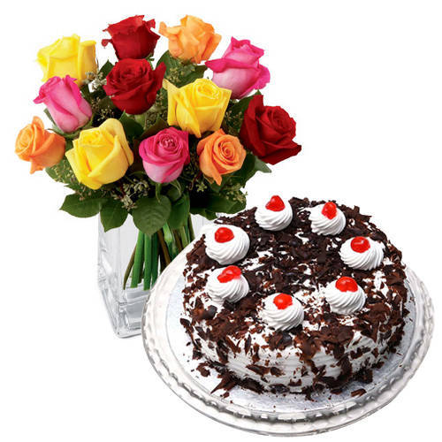 Buy Mixed Roses with Black Forest Cake Online