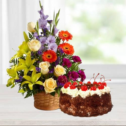 Book Online Seasonal Flowers n Black Forest Cake Online