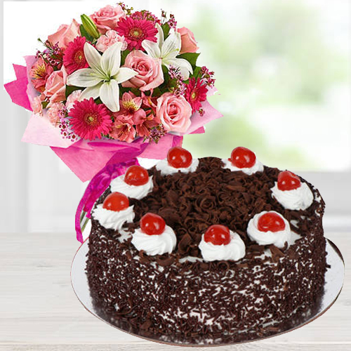 Traditional Mixed Flower Arrangements with Black Forest Cake