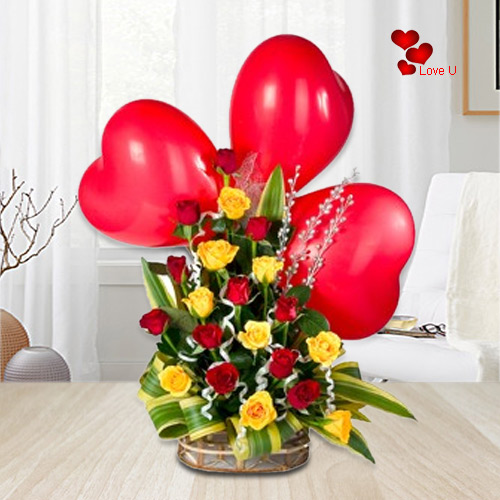 Deliver Online   Mixed Roses Basket with Heart Balloons