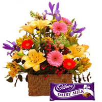 Delectable Cadburys Dairy Milk Chocolate and Mixed Blooms