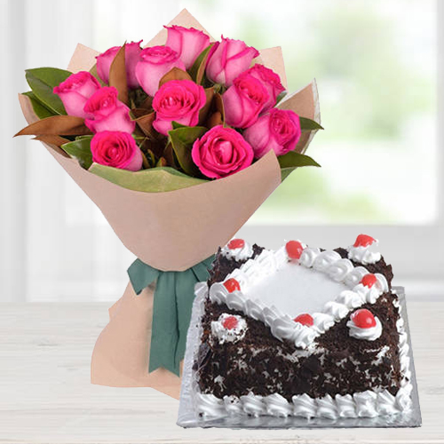 Dazzling Pink Roses Bunch with Black Forest Cake
