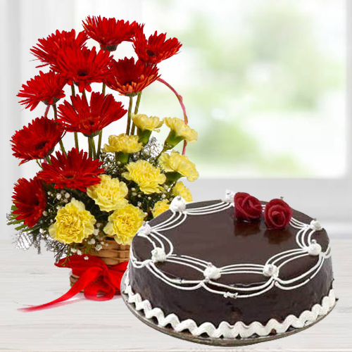 Regal Carnations and Gerberas Arrangement with 1/2 Kg Dark Chocolate Cake