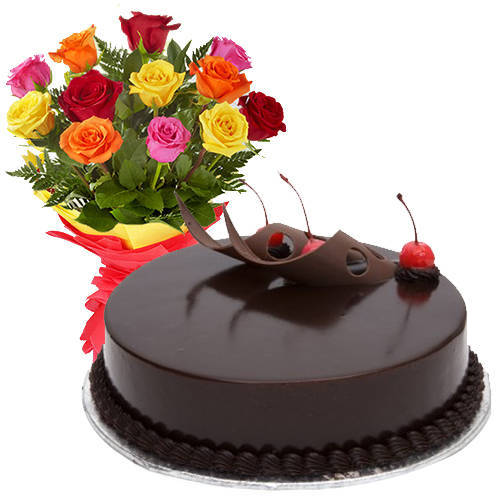 Touching 12 Mixed Roses with 1/2 Kg Chocolate Cake
