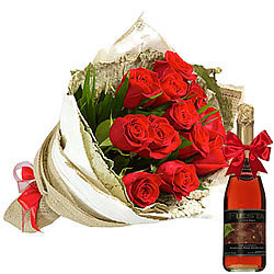 Exquisite Collection of Red Roses and Fruit Juice