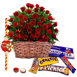 Delicious Assorted Chocolates and 50 Red Roses with a Rakhi