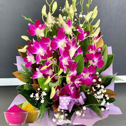 Heavenly Orchids Avengement with free Gulal/Abir Pouch.