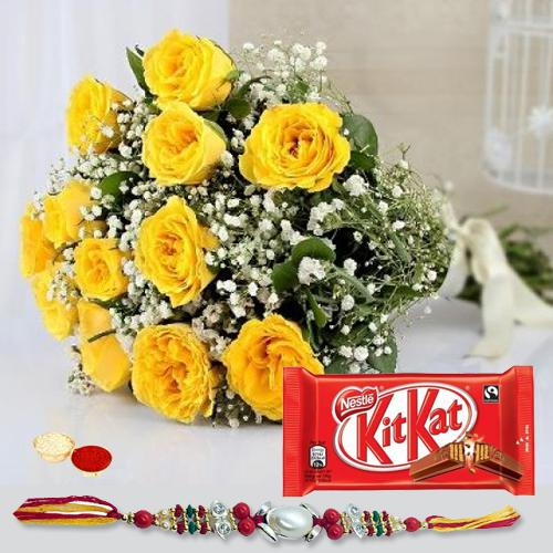 Delightful Gift of Dazzling Bouquet of 12 Yellow Roses with Tasteful Kitkat Chocolate