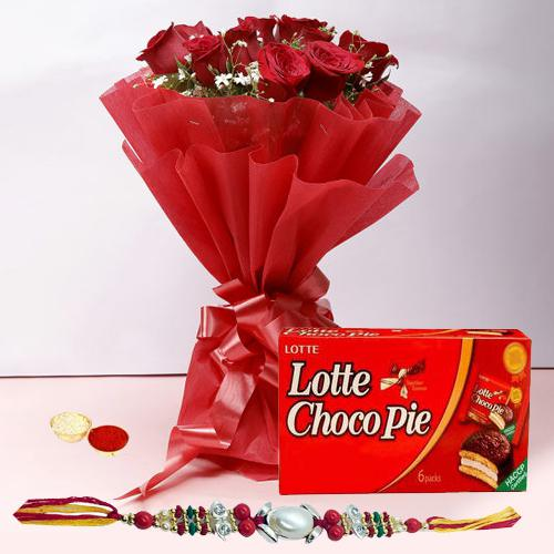 Traditional Rakhi with a Dozen Roses in Red and a Choco Pie Box