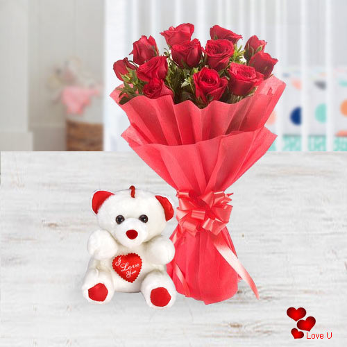 Deliver Online Red Roses Bouquet N Teddy