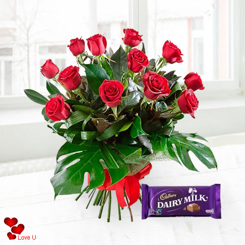 Send Online Red Roses N Cadbury Chocolate