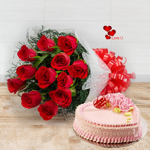 Send Roses N Cake Combo for Rose Day