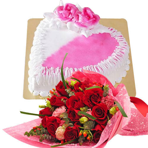Order Red Roses Bouquet with Cake Online