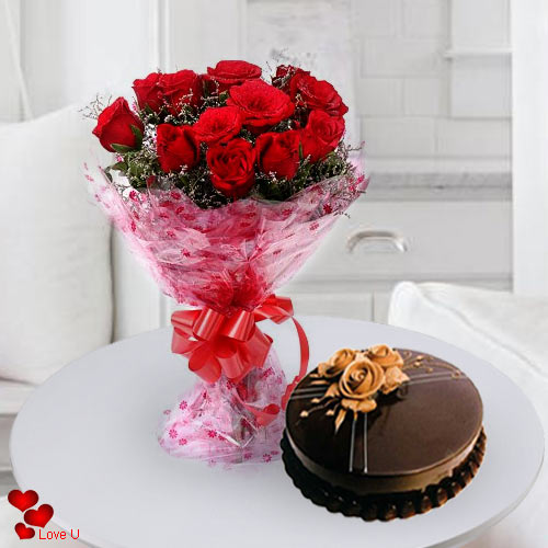 Order Combo Gift of Red Roses N Cake