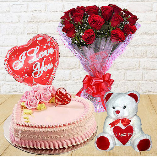 Book Red Roses Bunch with Teddy, Cake N Balloon Online